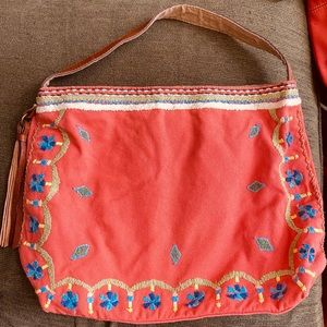 Lucky Brand Boho Shoulder Bag Canvas and Leather